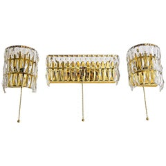 Three Wall Lamps with Cut Glass by Bakalowits