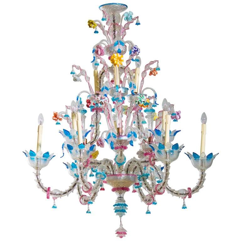 Italian Venetian, Ca' Rezzonico Chandelier, blown Murano Glass, Galliano Ferro For Sale