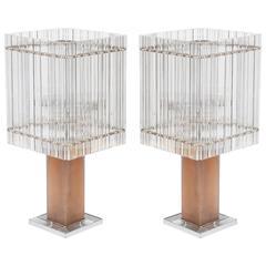Pair of Italian Murano Table Lamps, circa 1980s