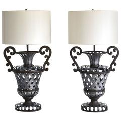 Pair of Wrought Iron Basket Weave Urn Form Table Lamps