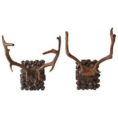 Pair of Black Forest Carved Wood Deer Antler Mounts, Late 19th Century