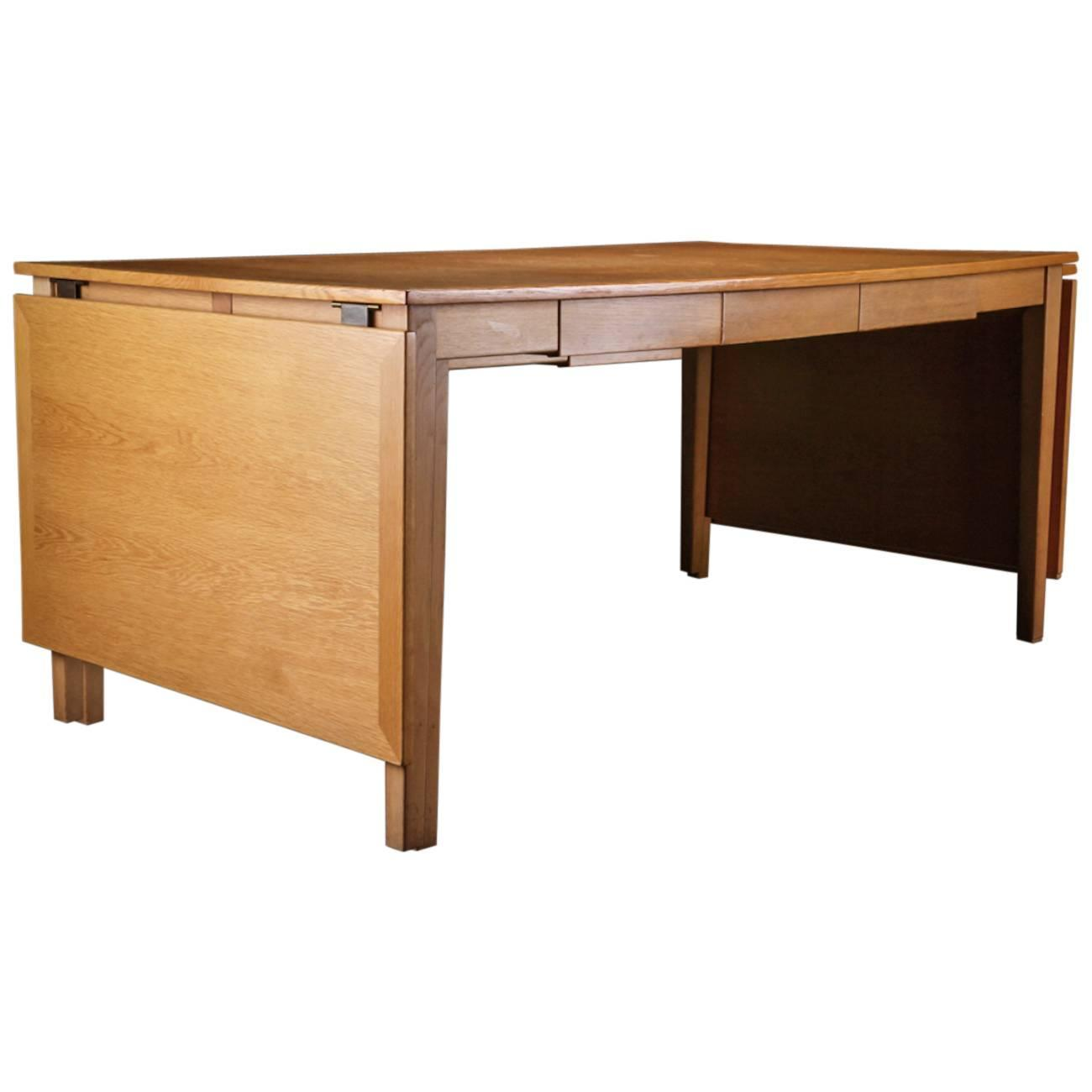Danish Oak Desk Or Dining Table With Drawers And Leaves At 1stdibs