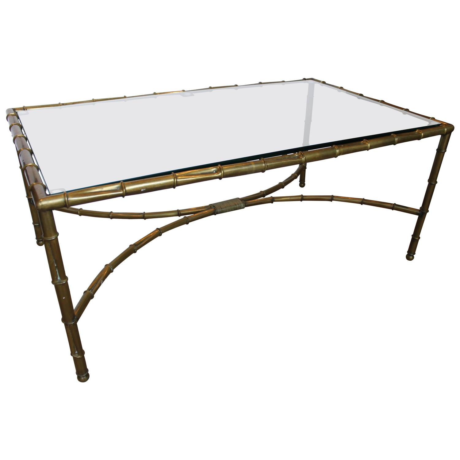 French brass bamboo and glass coffee cocktail table 1970s for French glass coffee table