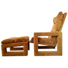 Milo Baughman Modern Sculptural Lounge Chair and Ottoman