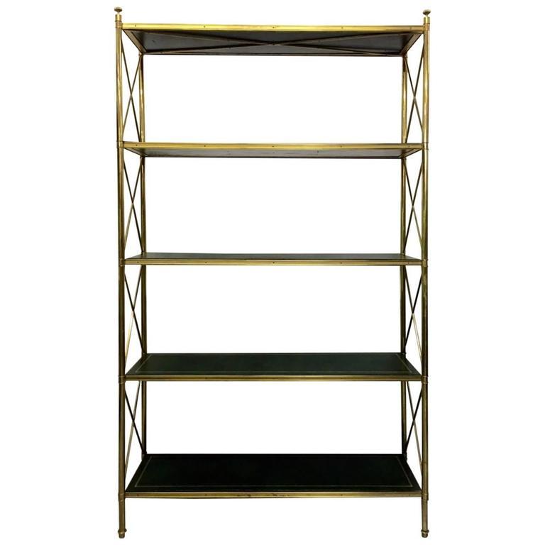 brass and tooled leather etagere by maison bagu s for sale. Black Bedroom Furniture Sets. Home Design Ideas