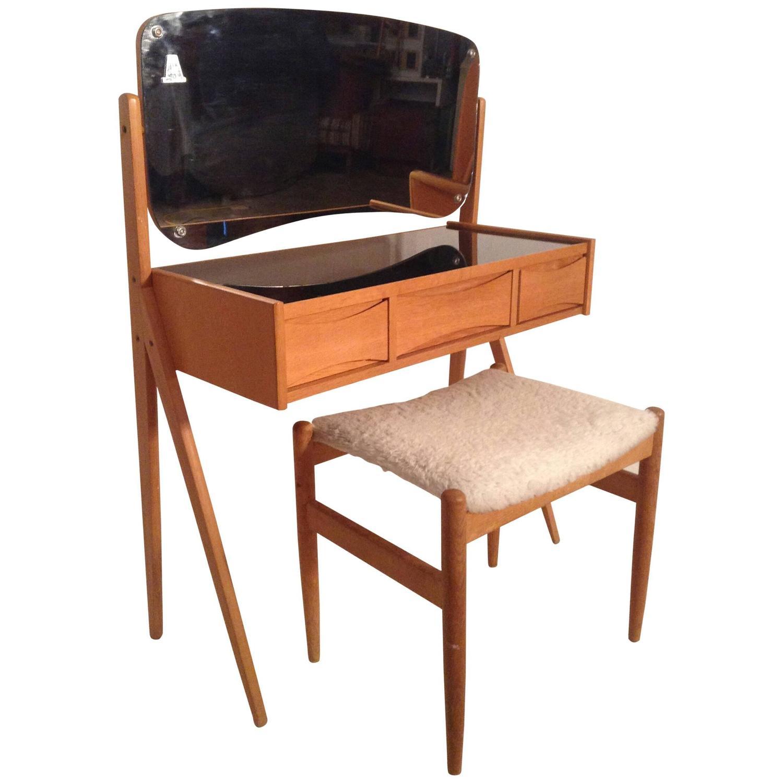 Modernist Arne Vodder Vanity or Dressing Table and Stool at 1stdibs