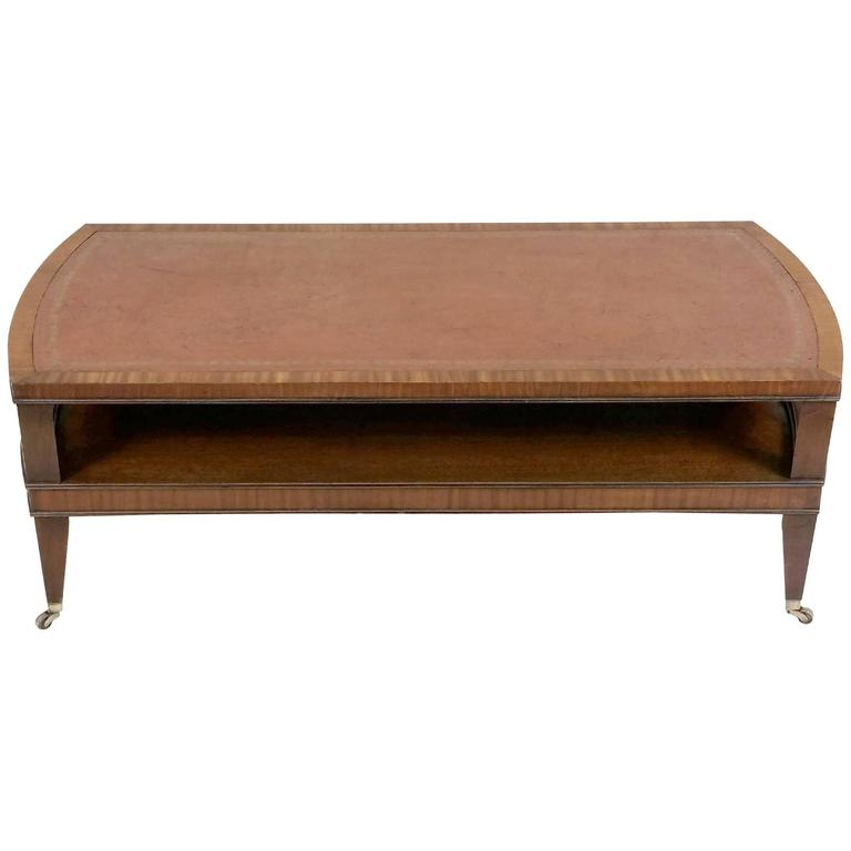 Art deco mahogany satinwood coffee table with leather top at 1stdibs Coffee table with leather top