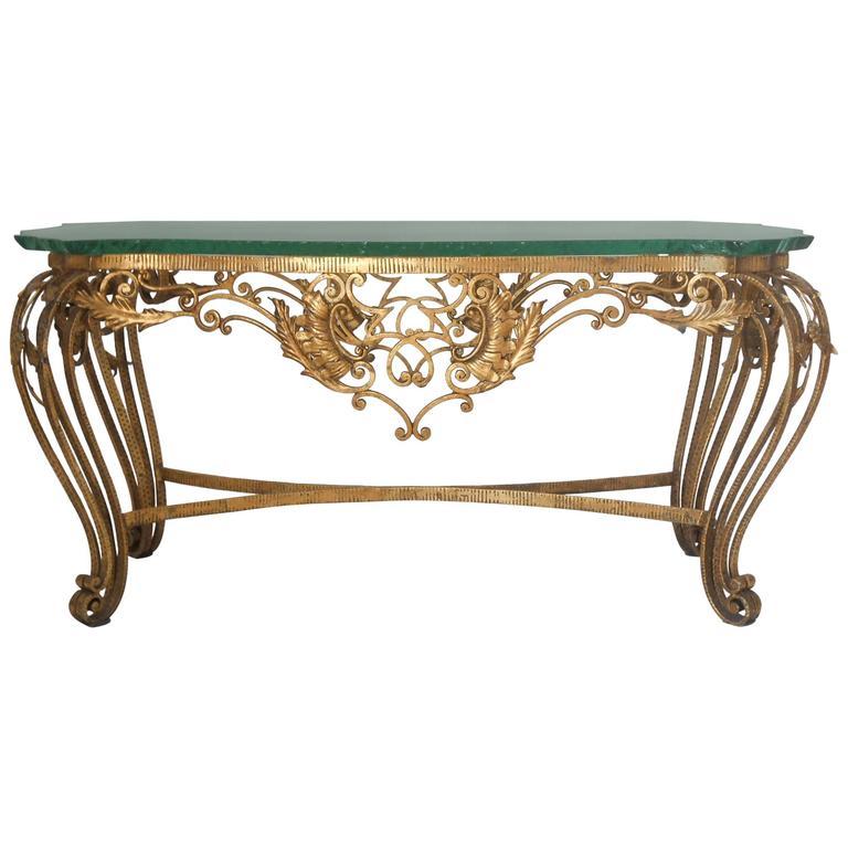 Italian Gilt Wrought Iron Coffee Table