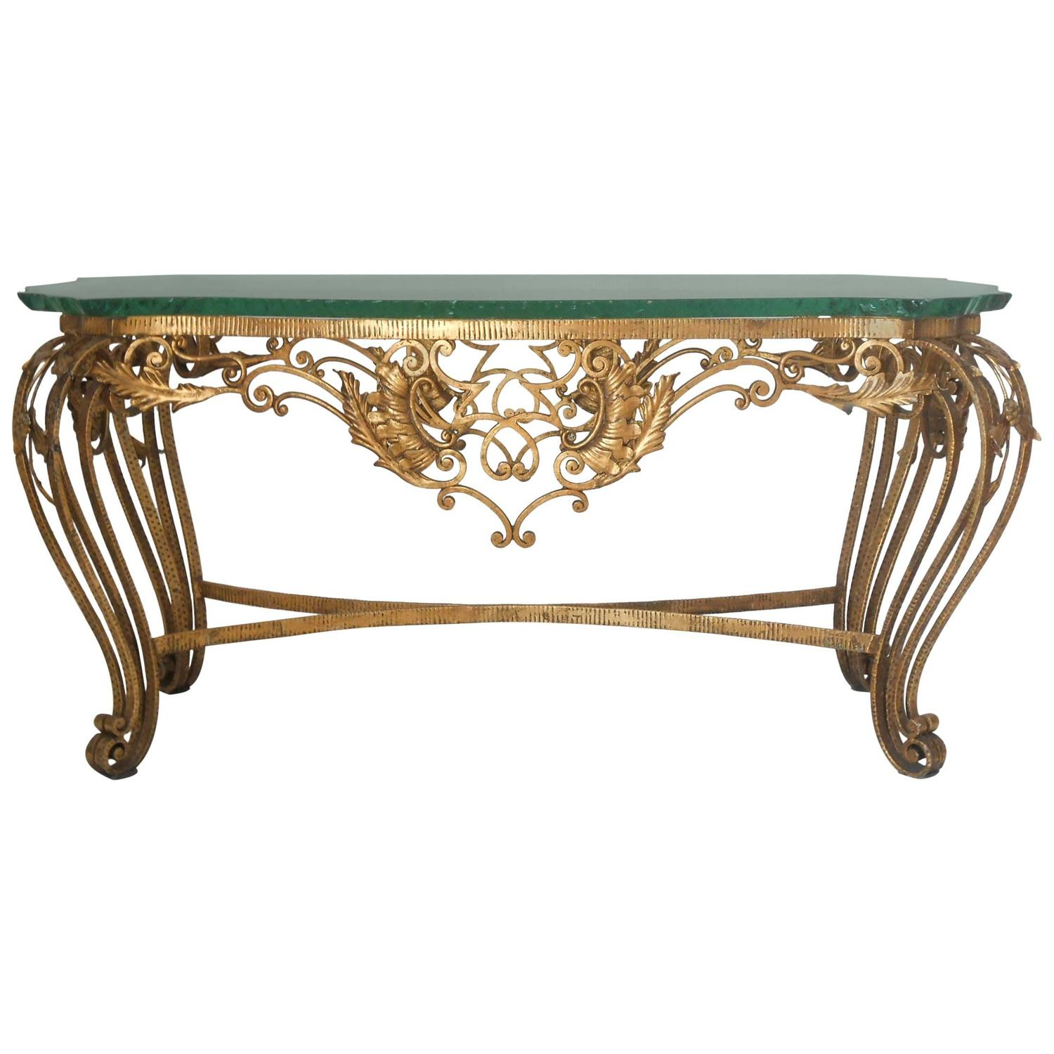 Italian gilt wrought iron coffee table for sale at 1stdibs Wrought iron coffee tables