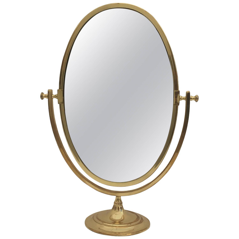 Oval brass vanity mirror at 1stdibs for Mirror vanity