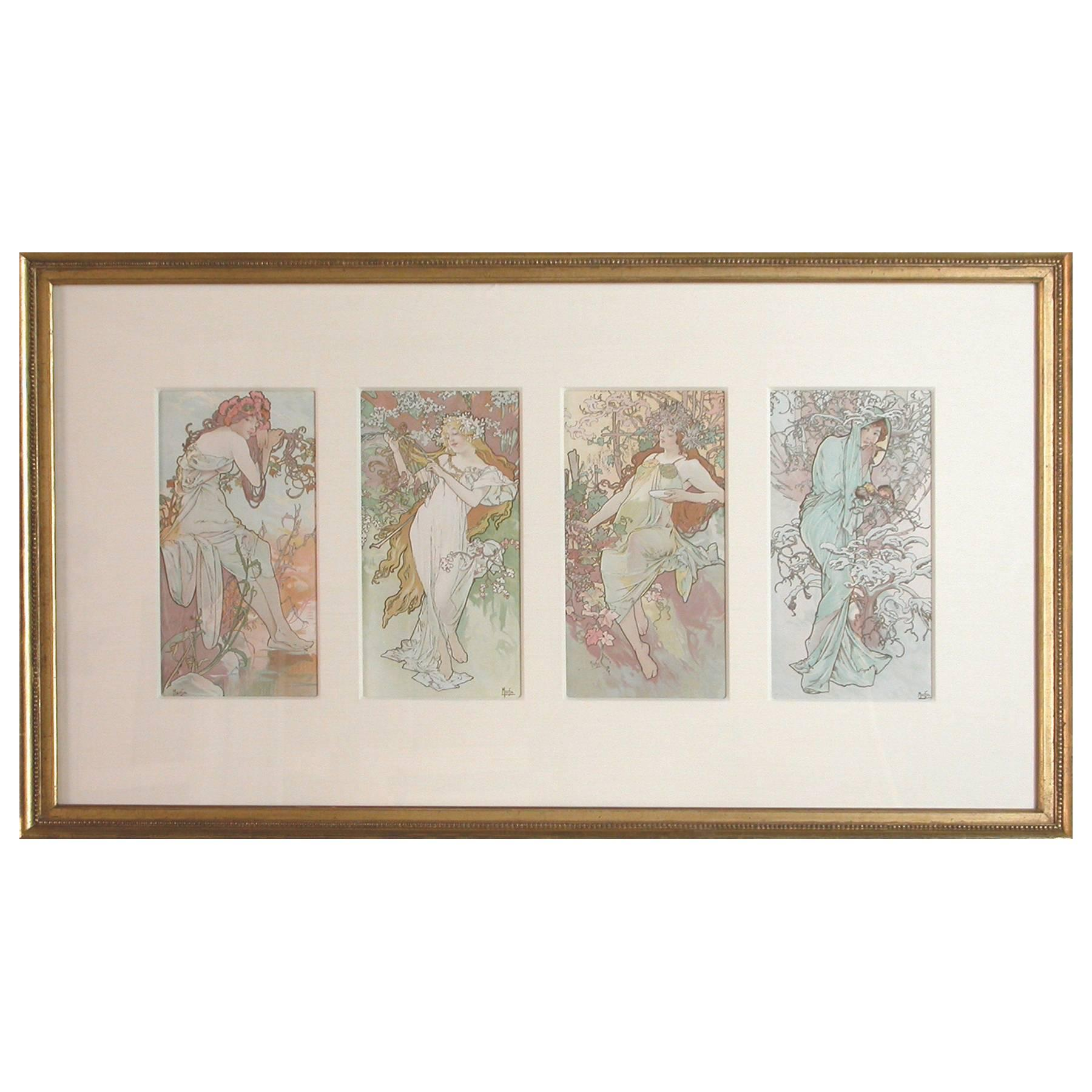 "Original Art Nouveau Lithograph ""the Seasons"" by Alphonse Mucha, 1896"