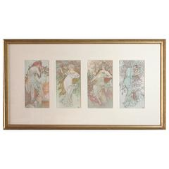 """French Art Nouveau Lithograph """"the Flowers"""" by Mucha"""