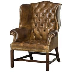English Wingchair, Original Leather, 1930-1950