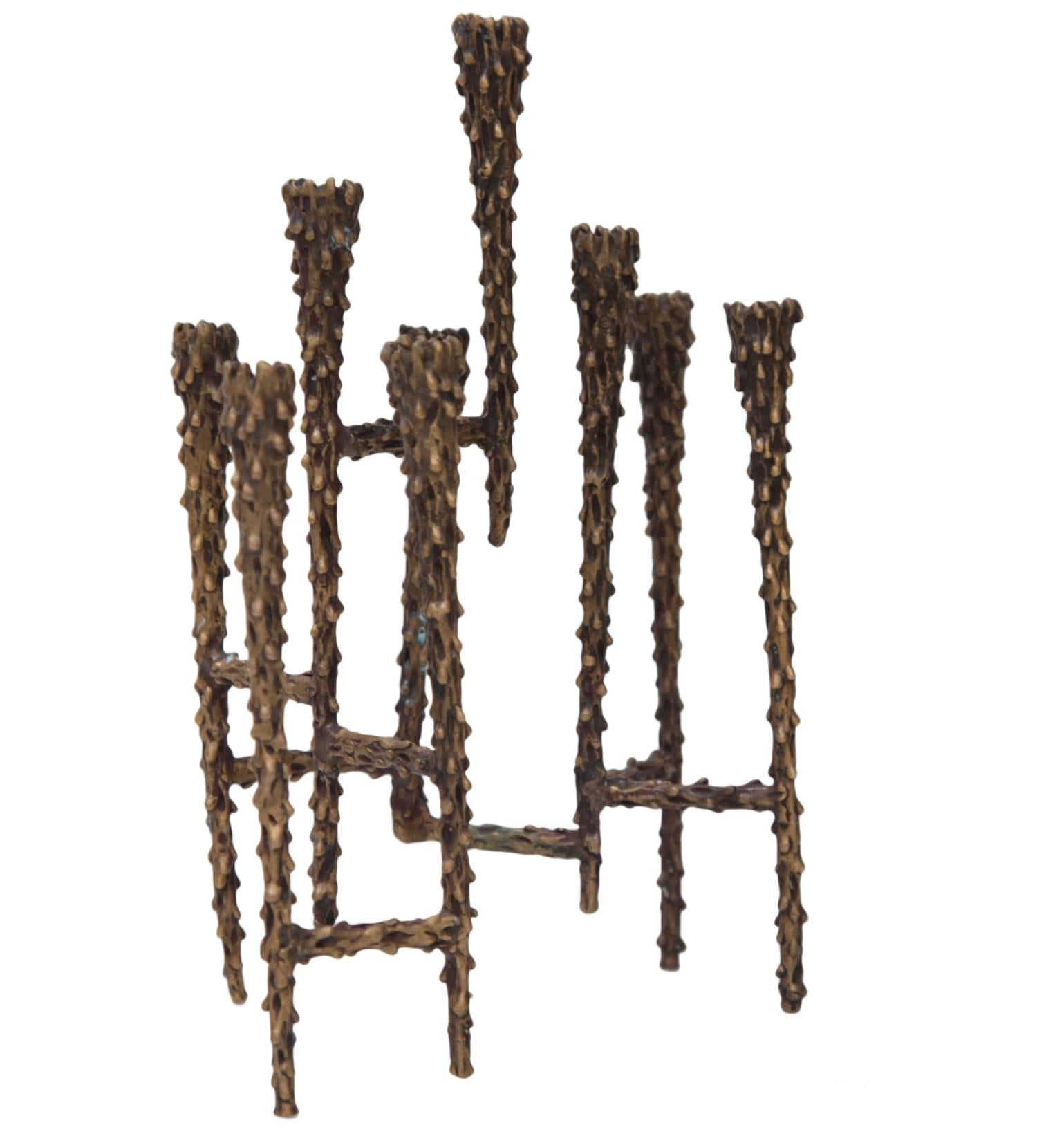 1960s Brutalist Candleholder Menorah