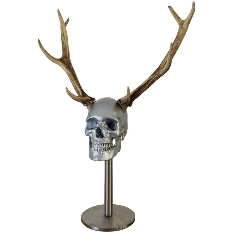 Adultery - Resin Skull with Antlers on Stainless Steel Stand by Hubert Privé