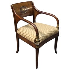 Armchair in Polished Mahogany Decorated with Brass and Leaf Gold, 1830