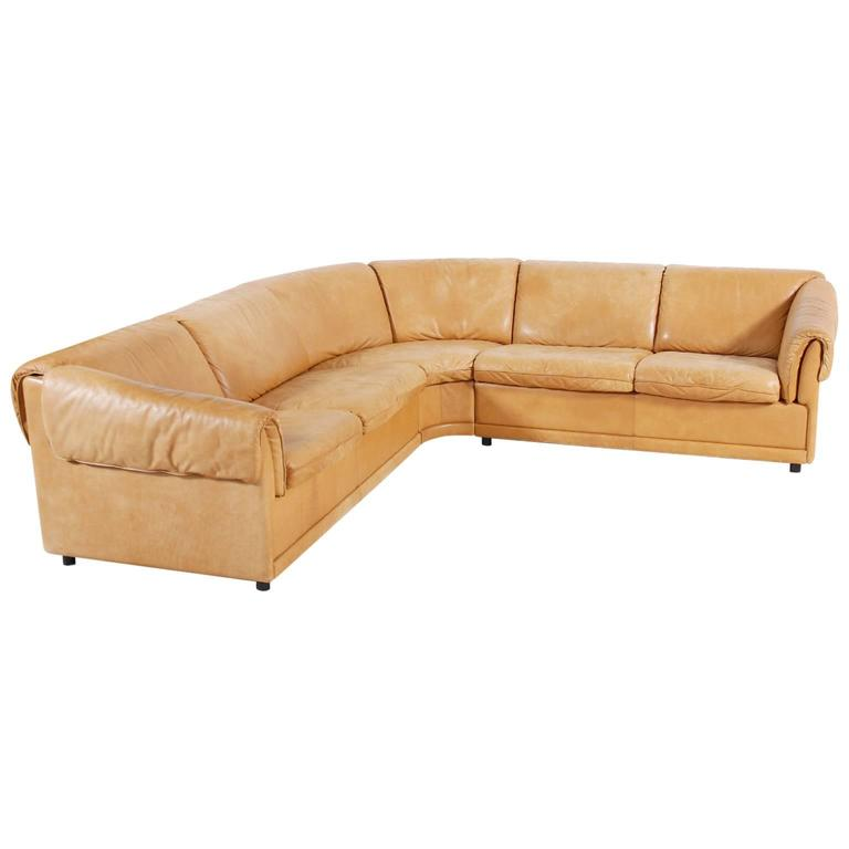 large cognac leather danish corner sofa 1970s for sale at 1stdibs. Black Bedroom Furniture Sets. Home Design Ideas
