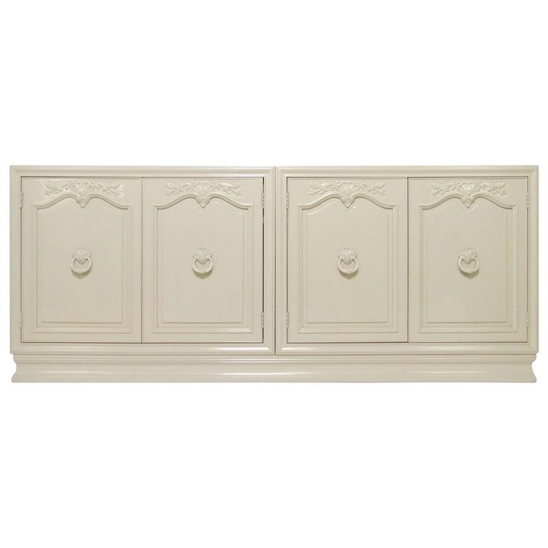 Classical Revival Mid-Century White Lacquered Sideboard Credenza by Henredon