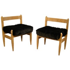 Guillerme et Chambron. Pair of Oak Chairs. Votre Maison Edition, France 1960