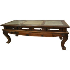 19th Century Eastern Chinese Ironwood Hand-Carved Calligraphy Table