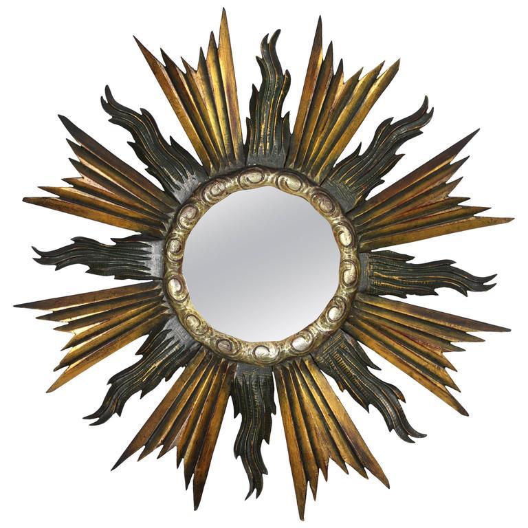 Baroque Style Giltwood, Black & Silvered Sunburst Mirror, Spain 1930s