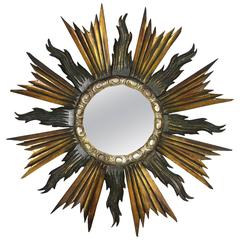 Baroque Style Carved Wooden Gilded, Black & Silver Sunburst Mirror, Spain 1930s