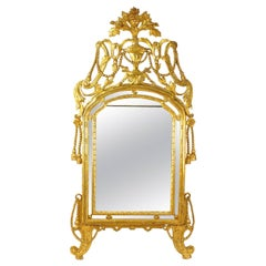 Large 18th Century Italian Rope & Tassels Decoration Carved Giltwood Mirror