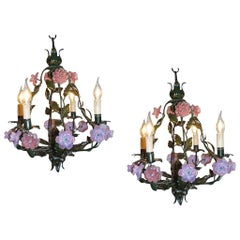 Pair of 20th Century Italian Iron Chandeliers