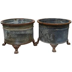 A Pair of Large French Planters with Lion Paw Feet