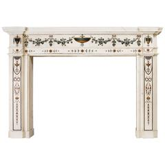 White Marble Fireplace with Pietro Bossi Scagliola Inlays, Late 18th Century