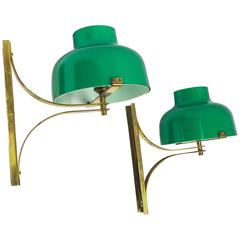 Miguel Milá Pair of Brass Wall Lamps Model Max Bill