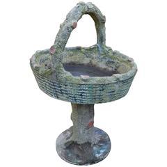Large Vintage French Caststone Faux Bois Basket Planter on Stand