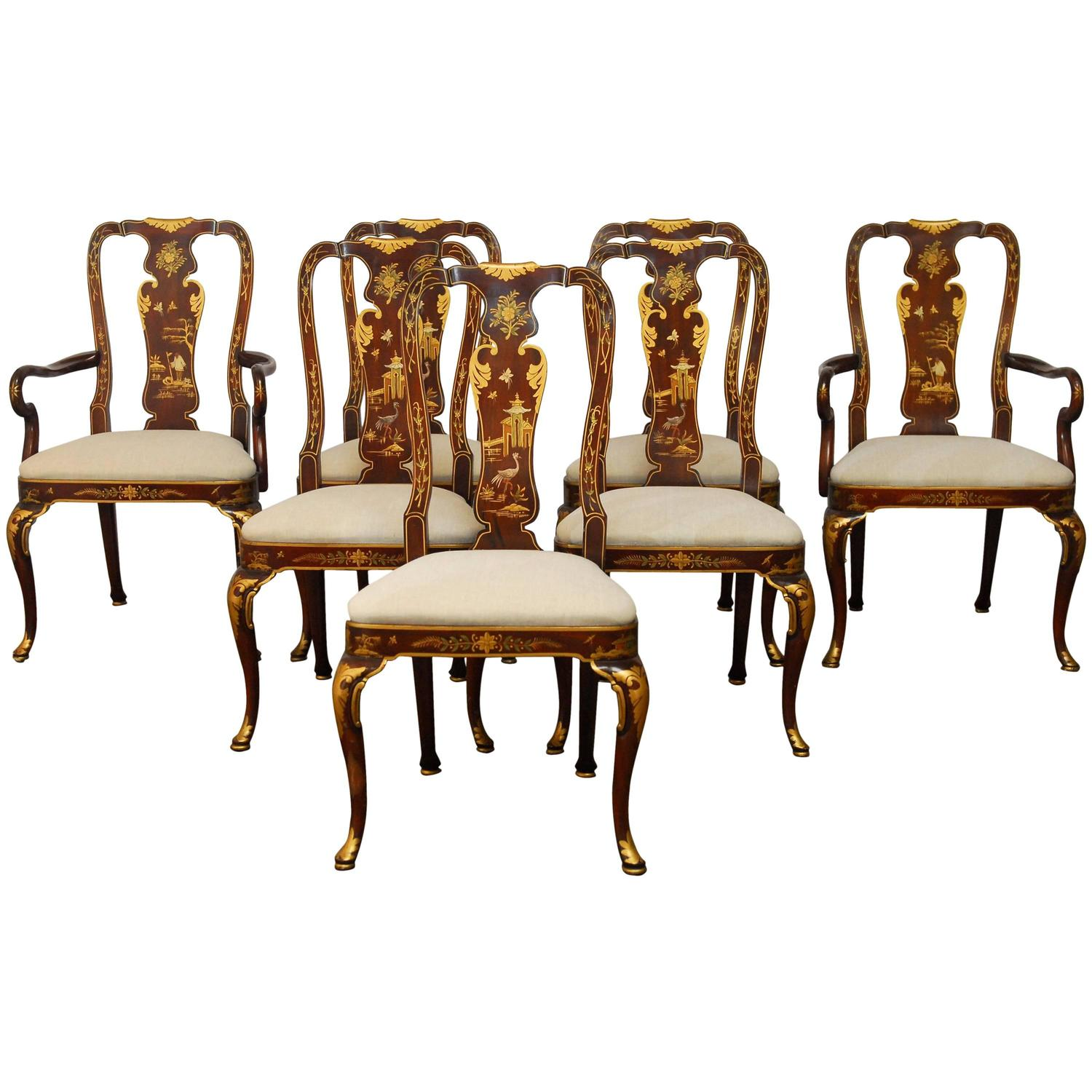 Set of seven chinoiserie queen anne dining chairs at 1stdibs for Dining room chairs queen anne