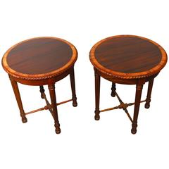 Pair of Regency Carved Mahogany Gueridon Side Tables