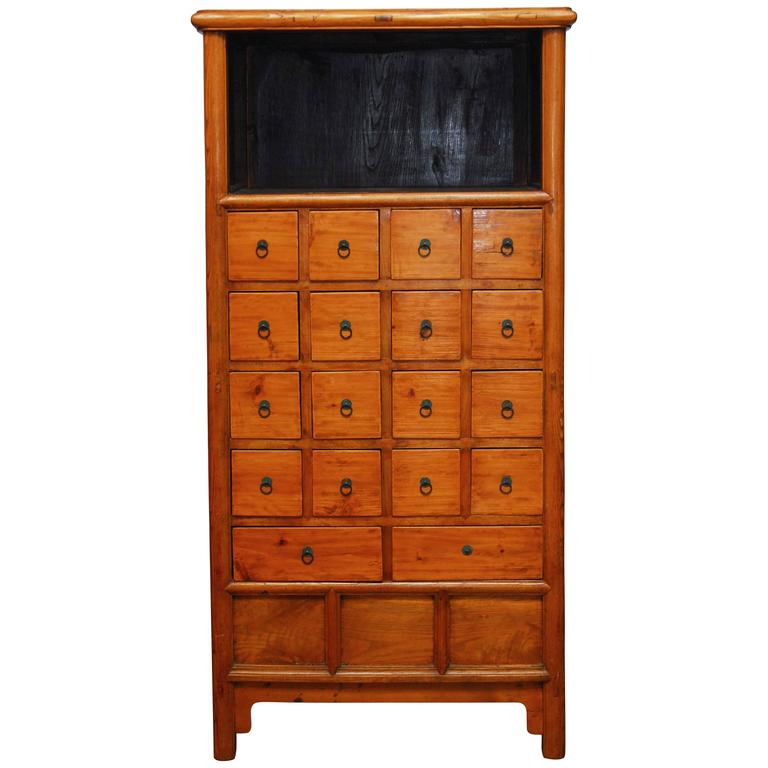 Chinese Elm Apothecary Cabinet