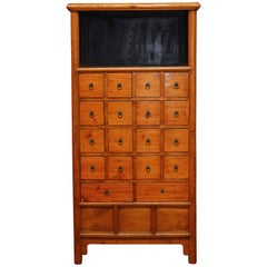 Chinese Elm Apothecary Display Cabinet