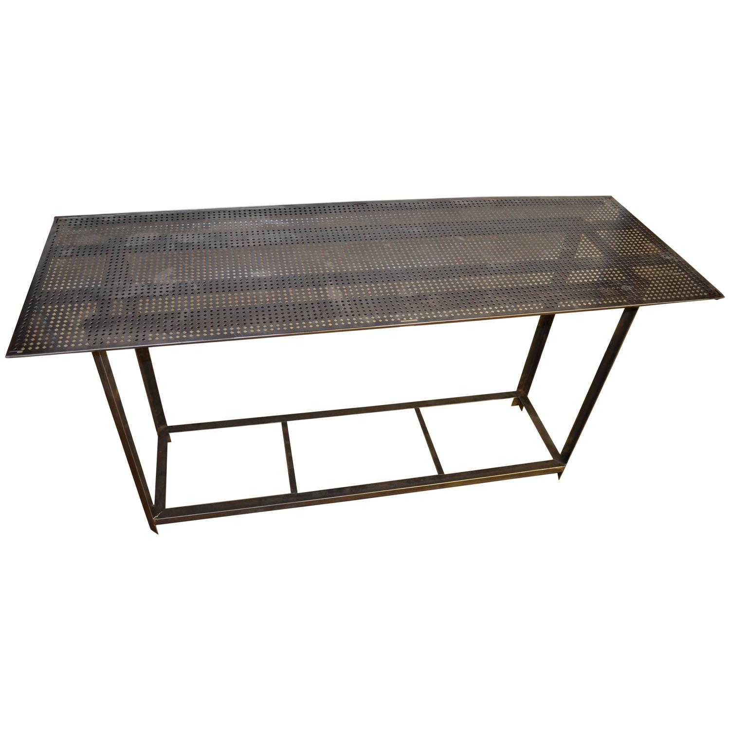 Industrial Work Table with Steel Grate Top at 1stdibs