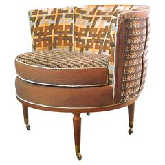 Mid Century Barrel Chair in Brown and Blue