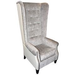 Greenwich Armchair with Atlanta Fabric and Back in Tango Cream Genuine Leather