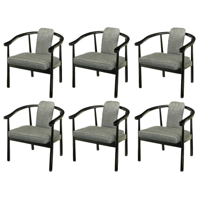 Six Slate Grey Linen Upholstered and Ebonized Yoke Arm Dining Chairs For Sale