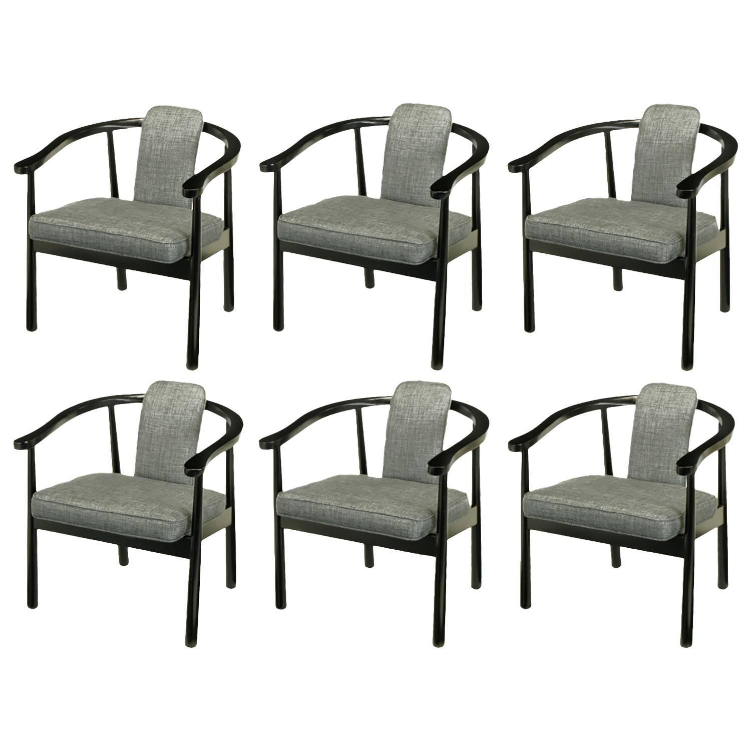 upholstered and ebonized yoke arm dining chairs for sale at 1stdibs