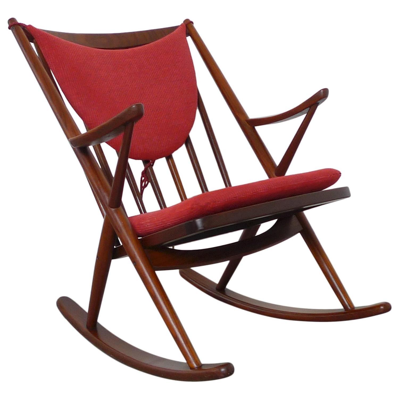 Teak Rocking Chair by Frank Reenskaug for Bramin Denmark 1958 at
