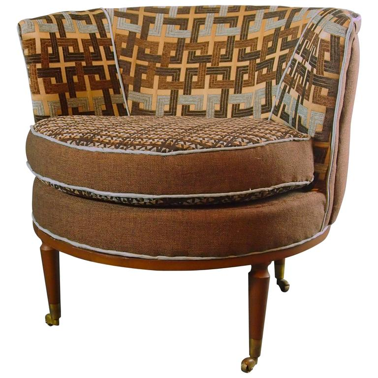 Mid Century Barrel Chair in Brown and Blue--3 in stock