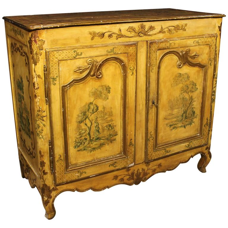18th century lacquered and hand painted sideboard for sale for Chippendale meuble