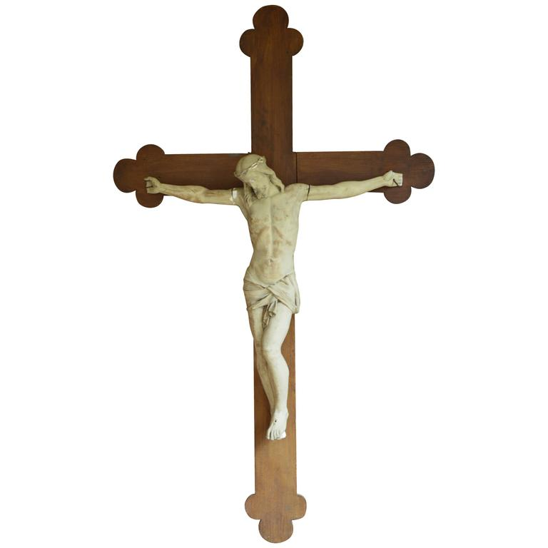 Over 6' Tall 19th Century Flemish Crucifix