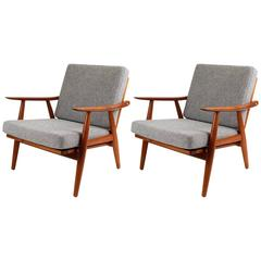 Hans Wegner GE-270 Danish Teak Lounge Chairs