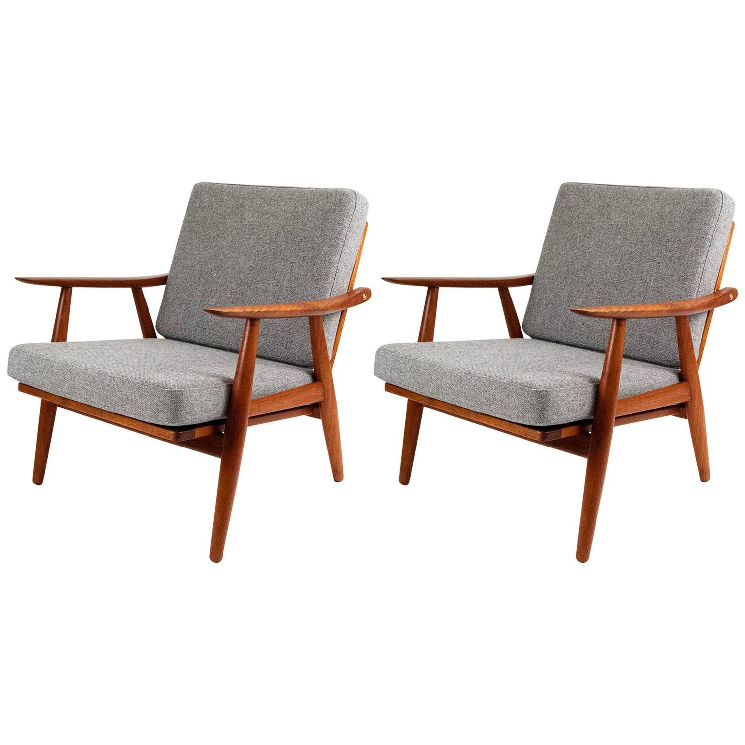 Hans wegner ge 270 danish teak lounge chairs at 1stdibs - Danish furniture designers ...