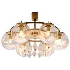 Set of 7 Chandeliers in Brass and Art-Glass