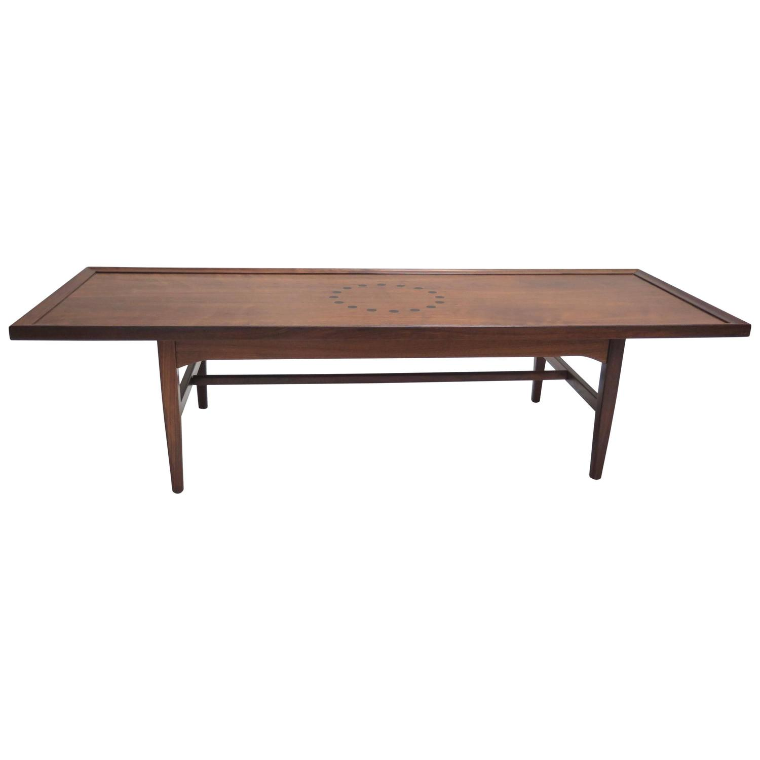 Drexel Walnut Coffee Table With Circle Inlay For Sale At 1stdibs