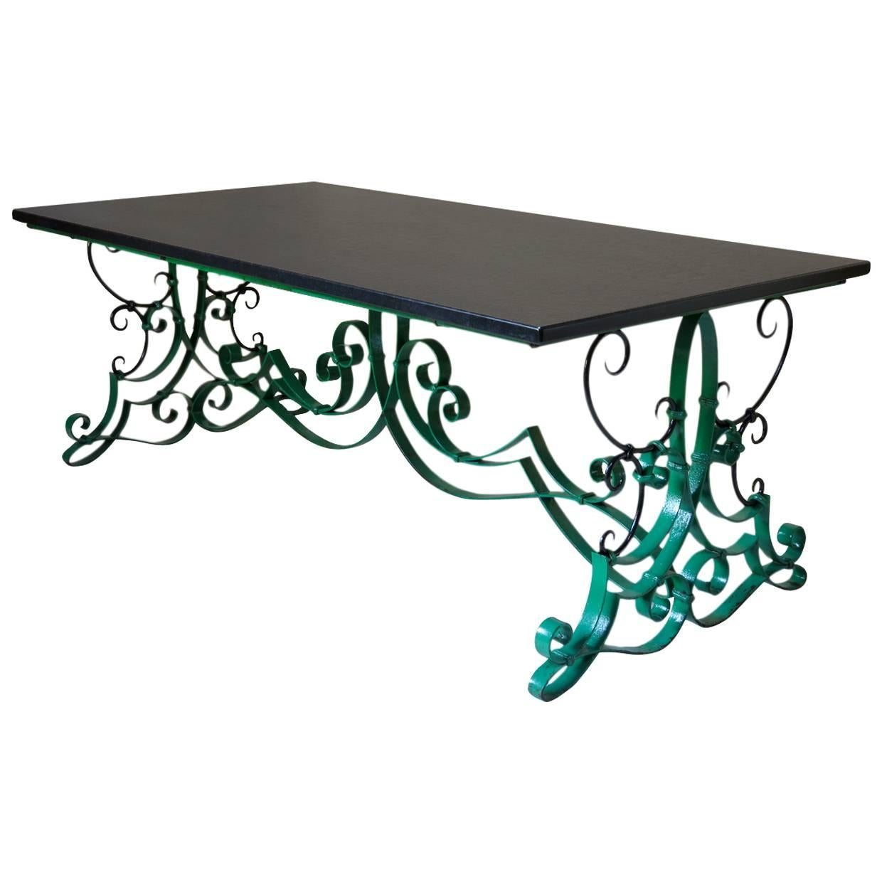 French 1940s Wrought Iron and Slate Extending Dining Table